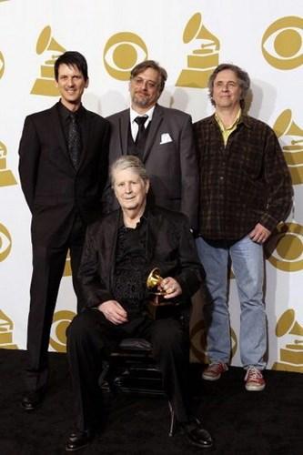 L to R: Dennis Wolfe, Alan Boyd, Mark Linett (Brian Wilson sitting)