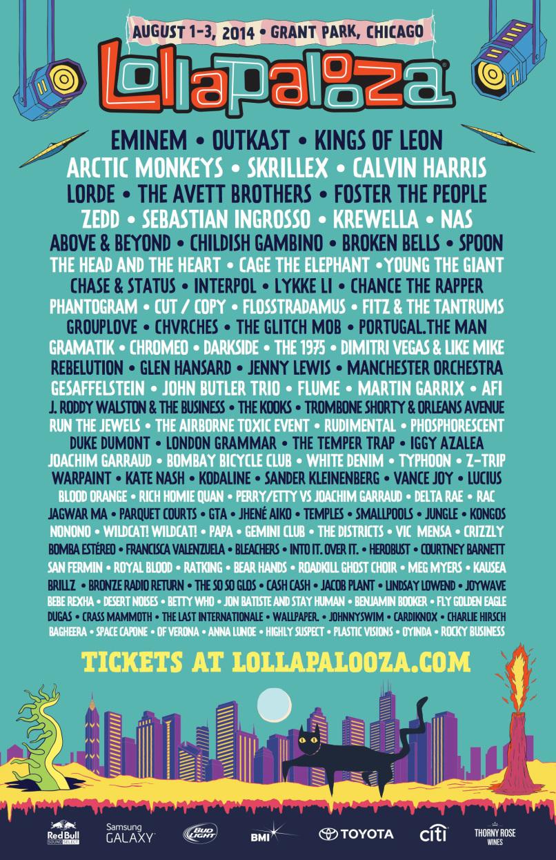 Lollapalooa Festival 2014 poster