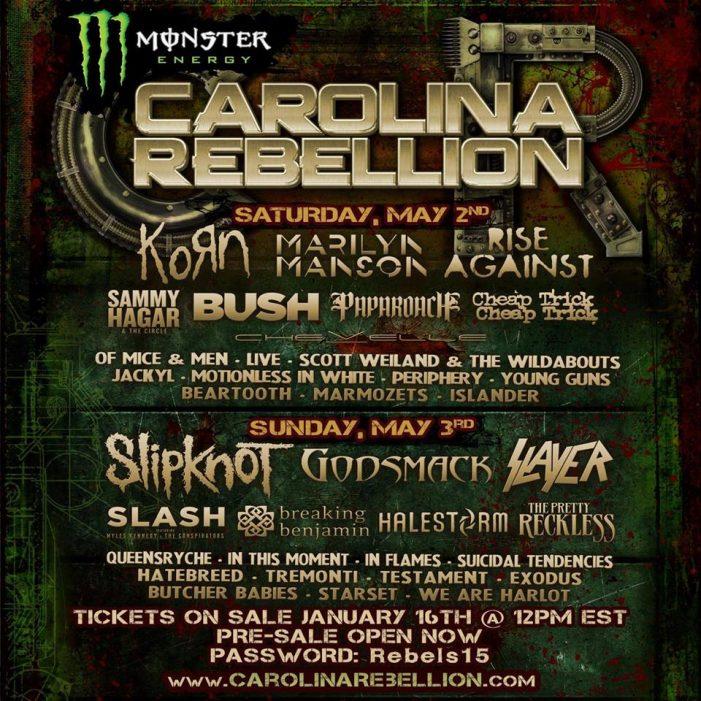 Sammy Hagar, Cheap Trick, Slash Playing Carolina Rebellion Festival 2015 with Korn, More (Full Details)