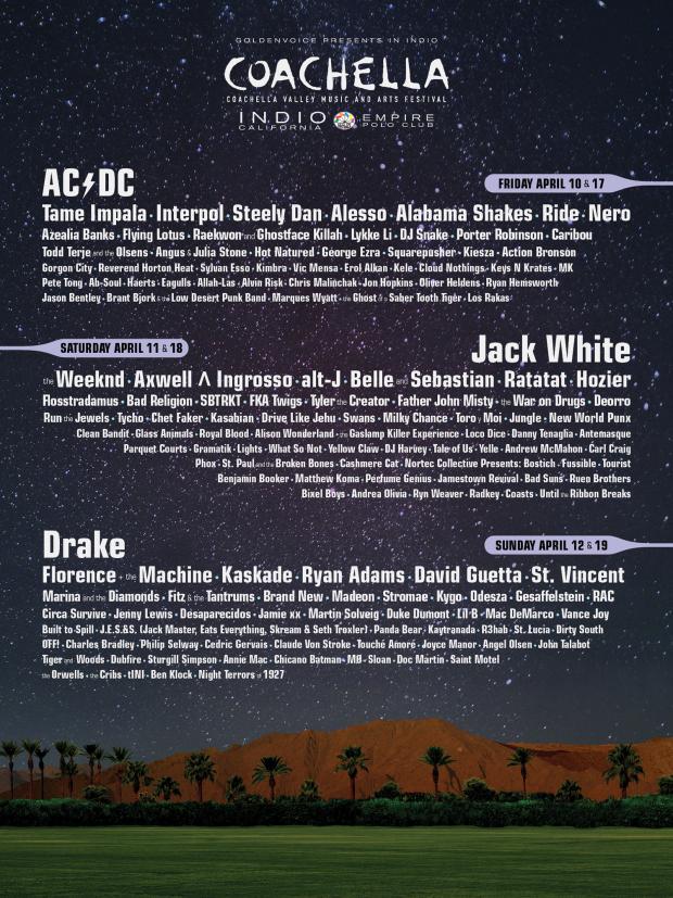 Coachella 2015 Lineup, Details Announced – Jack White, AC/DC, Drake Headlining